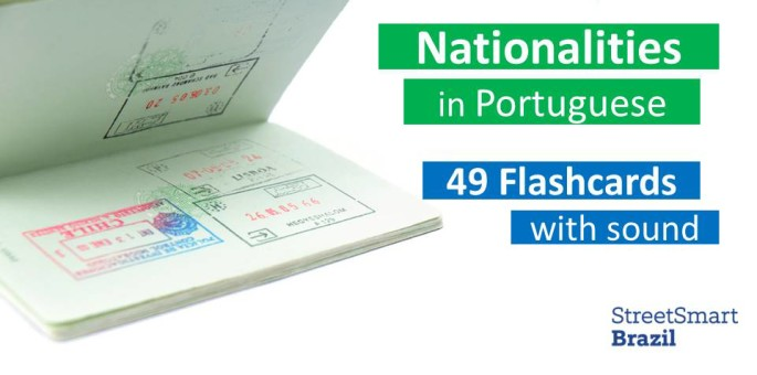 Flashcards: Easily Learn 49 Nationalities in Portuguese