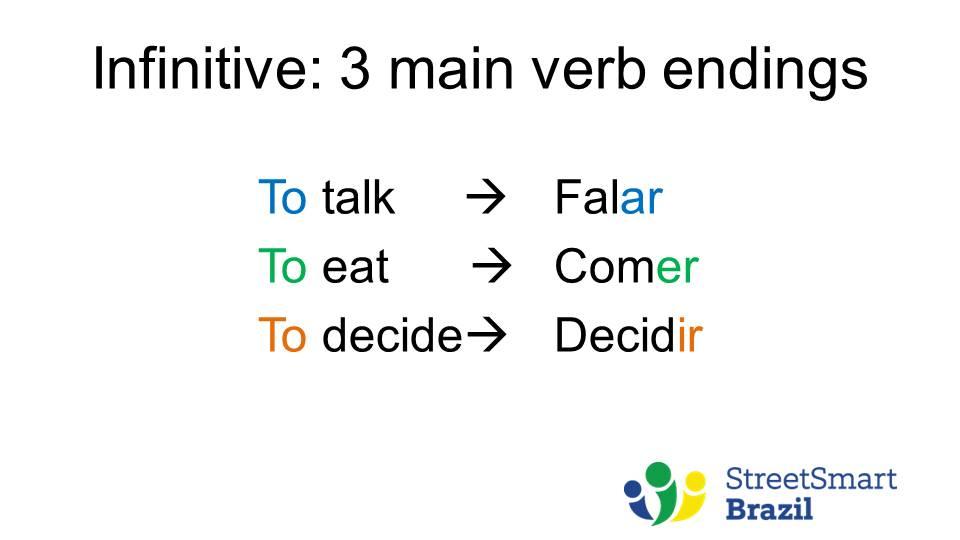 Verb Conjugation - Present Tense - Portuguese lesson - endings